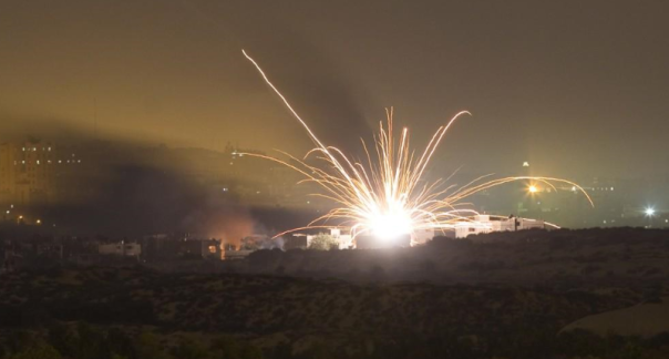 Explosion in Gaza as ground operations began Thursday night.