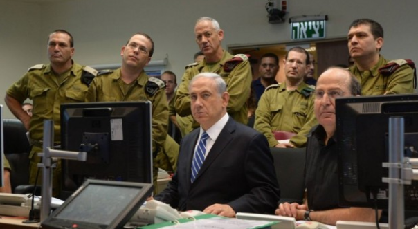Netanyahu tracking war developments with his generals.