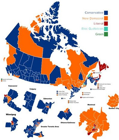 Canada election 2011: Consersvatives in Blue, Socialists in Red, Communists in Orange