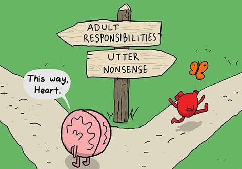 Brain vs Heart, from: theawkwardyeti.com