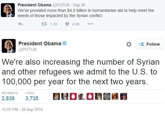 Obama says let in 200,00 Syrian refugees