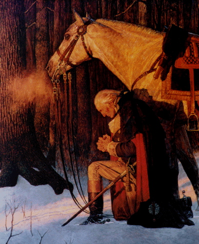 George Washington and Old Nelson pray