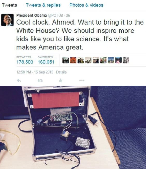 Obama thinks that bringing what looks like a bomb to school is cool