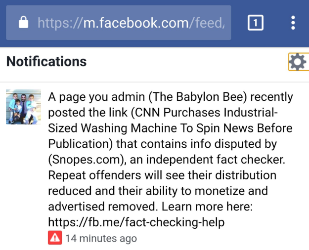 Facebook is so good at checking facts and censoring conservatives
