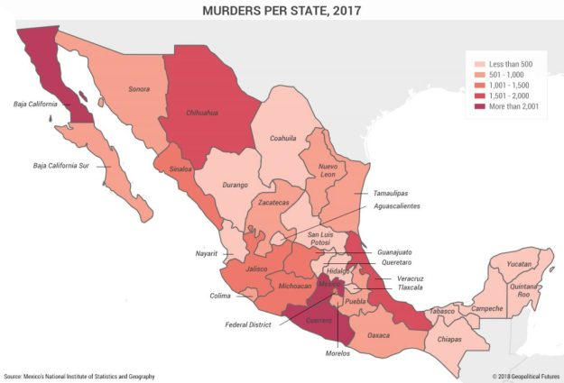 Mexico, number of murders by state, 2017