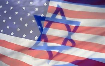 Israeli flag superimposed on U.S. flag