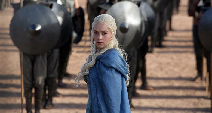 Emilia Clarke as Daenerys Targaryen in a scene from Game of Thrones