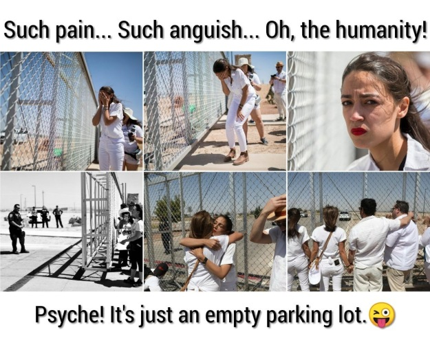 AOC photo-op: crying over a fake fence in a parking lot