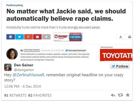 "Zerlina Maxwell ""automatically believe rape claims"""