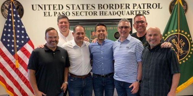 Rev. Samuel Rodriguez, president of the National Hispanic Christian Leadership Conference, with an accompanying delegation of pastors at the Clint Patrol Station this weekend in El Paso County, Texas.