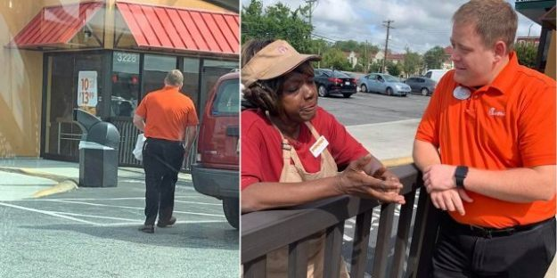 Jené Walker captured a Chick-fil-A employee walking over to a nearby Popeyes and handing out free sandwiches to Popeyes employees.