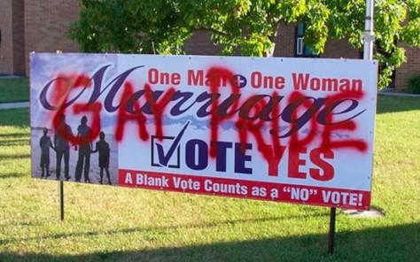 Gay activist vandalizes pro-marriage sign