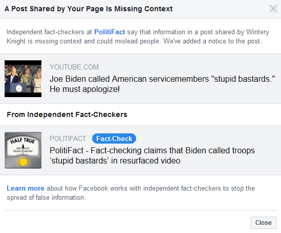 I got a Facebook page violation for sharing a Biden speech clip
