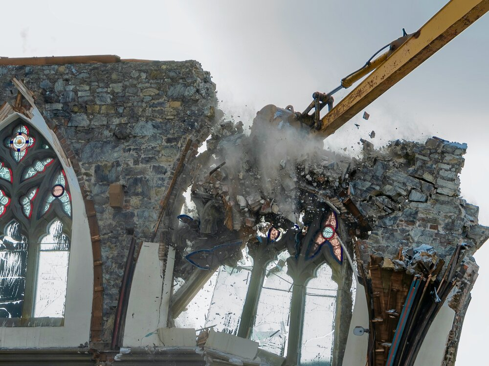 Demolition of St. John's Gothic Arches Church; image by Shutterstock.com.