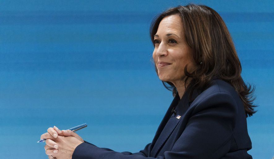 Vice President Kamala Harris attends a virtual meeting with mayors from the African American Mayors Association, Wednesday, Feb. 10, 2021, from the South Court Auditorium on the White House complex. (AP Photo/Jacquelyn Martin)  **FILE**