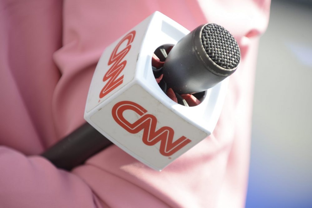 A CNN presenter is seen during the 2018 NATO Summit in Brussels, Belgium on July 11, 2018.