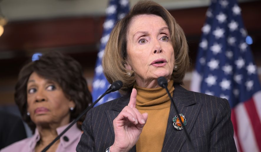 House Minority Leader Nancy Pelosi of Calif., joined by Rep. Maxine Waters, D-Calif., criticizes President Donald Trump's pro-Wall Street policies during a news conference on Capitol Hill in Washington, Monday, Feb. 6, 2017. (AP Photo/J. Scott Applewhite) **FILE**