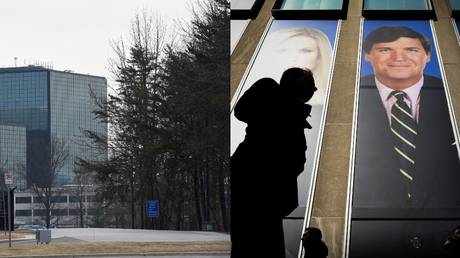 NSA headquarters; Fox News HQ with photo of host Tucker Carlson (file photos)