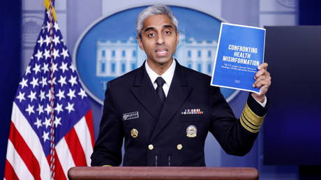 US Surgeon General Vivek Murthy speaks about 'misinformation' threat at the White House, July 15, 2021.