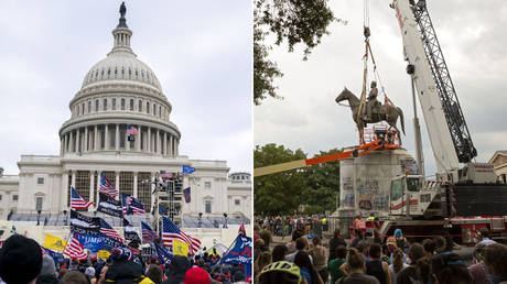 (L) Supporters of US President Donald Trump protest outside the US Capitol on January 6, 2021, in Washington, DC. © ALEX EDELMAN / AFP; (R) People watch as the Stonewall Jackson statue is removed from Monument Avenue in Richmond, Virginia on July 1, 2020. © Ryan M. Kelly / AFP